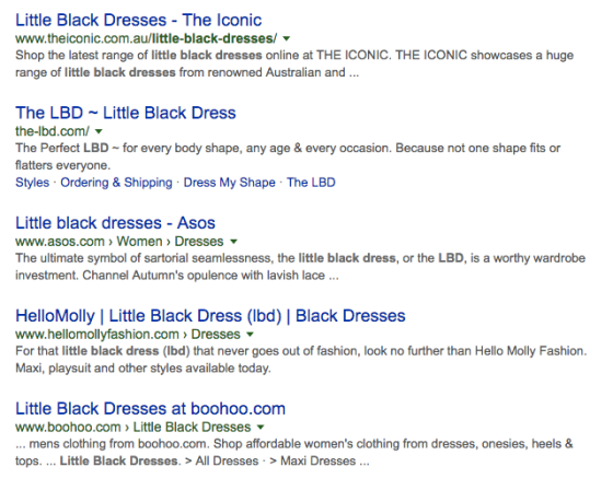 search results for little black dress